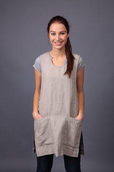 Linen Apron / apron dress / Sizes XS to XXL / Pocket by LinenCloud