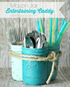 Just have a look at these DIY Mason Jar Crafts that you can make in under an hour. All these mason jar crafts are insanely smart and cool and will help to Mason Jar Projects, Mason Jar Crafts, Mason Jar Party, Silverware Caddy, Cutlery Storage, Utensil Caddy, Utensil Holder, Table Caddy, Plastic Silverware