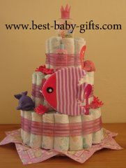 Girl Diaper Cakes ... beautiful baby girl cakes made of diapers