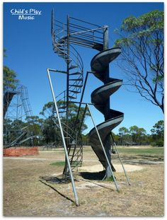 Spiral slide at Katanning All Ages Playground |child's Play Music. I love this slide - the design is almost sculptural. Pinned by Alec of Child's Play Music http://childsplaymusic.com.au/