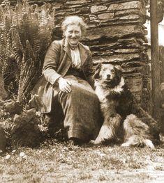 Beatrix Potter and her dog at Hill Top Farm, circa 1920s