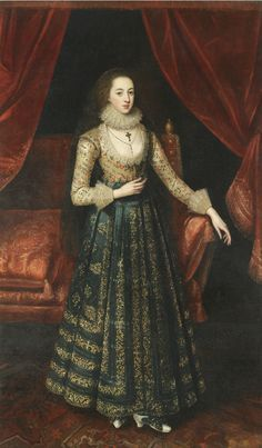 ab. 1610 attributed to Robert Peake - Portrait probably of 'young' Sir George Booth's mother, Vere Egerton