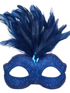 Blue Masquerade Mask. Blue eye mask decorated with blue glitter design A crest of blue feathers completes this attractive masquerade mask