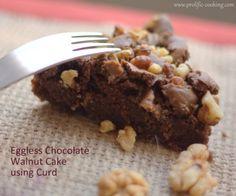 Eggless Chocolate Walnut Cake with Curd