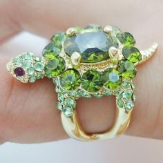Cute Animal Tortoise Turtle Cocktail Ring Sz 7 Green Austrian Crystal in Jewelry & Watches, Fashion Jewelry, Rings Cute Tortoise, Tortoise Turtle, Turtle Ring, Turtle Love, Green Turtle, Sea Turtle Jewelry, Turtle Necklace, Animal Rings, Animal Jewelry
