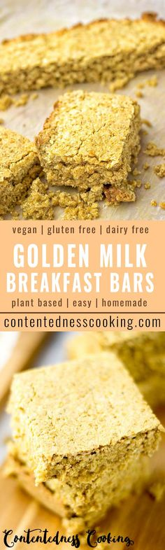 These Golden Milk Breakfast Bars are entirely vegan and gluten free. Also delicious for a snack or dessert. Seriously the best reason to get up early!
