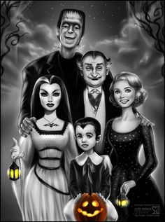 Another Creepy Family - The Munsters!Demonic Lily, her husband Herman, Grandpa, little Eddie and sweet Marilyn.