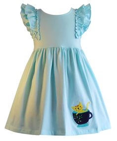 Tea & Kitties Aqua Cotton Knit SoHo Dress