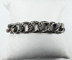 Antique Sterling Silver Link Bracelet Vintage by BelmarJewelers