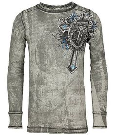 Amazon.com: Affliction Mural Reversible Thermal White Black: Clothing