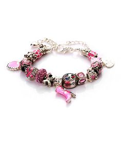 Look what I found on #zulily! Pink & Silvertone Breast Cancer Awareness Charm Bracelet by Evening Crystals #zulilyfinds. #zulilybday