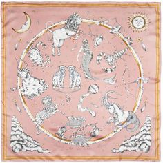 A starry sky in a distant galaxy.The Astrology Silk Scarf is inspired by mythical legends, astronomy and childhood fairy tales and features all the twelve zodiac star signs. All floating around. Bandana Design, Textile Fiber Art, Zodiac Star Signs, Scarf Design, Vintage Scarf, Silk Painting, Pink Silk, Silk Fabric, Astrology