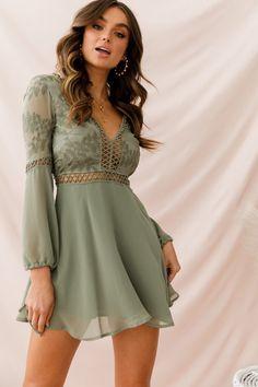 48a1cec77bd8 Shop the Carson Crochet Details Dress Olive | Selfie Leslie Frocks, Casual  Dresses, Stylish