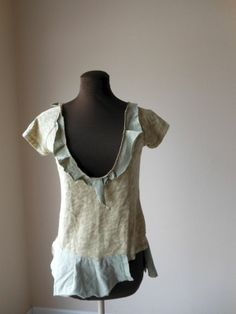 Pixie TShirt Olive Jersey Peplum Top Moss Rustic Ranch Tattered Woodland Neutral Green Natural Fashion