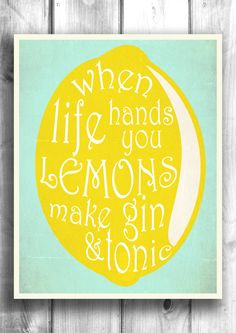Gin and Tonic typography print bar decor typographic poster digital print wall sign inspirational print 11x14 Type