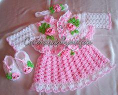 Baby girl dress Crochet headband Crochet by CutenCuddlyOutfits