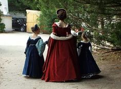 Red and blue Tudors dress