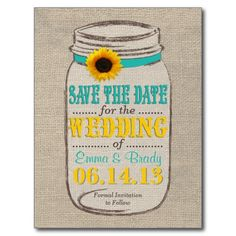 Rustic Sunflower and Mason Jar Save the Date Post Card
