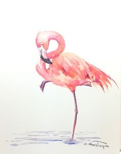 Pink Flamingo 14 X 11 original watercolor painting by ORIGINALONLY on Etsy