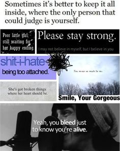 """I hate myself pretty often."" She said. ""Pretty fuckkin often."" by amessofgorgeouschaos ❤ liked on Polyvore"