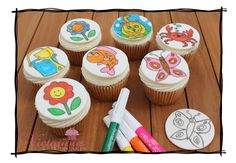 Colour-in cake toppers & edible pens