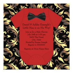 Elegant Red Black And Gold Baby Boy Shower 5 25x5 25 Square Paper Invitation Card