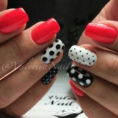 shan Nail Art day nails simple polka dots 5 Amazing Facts About Jessie Mills & Her Edible Nail Designs - Workout Plan Dot Nail Art, Polka Dot Nails, Polka Dots, Shellac Pedicure, Manicure, Pedicure Ideas, Super Nails, Simple Nails, Red Nails