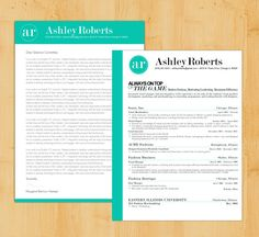 Custom Colors Resume  Cover Letter Template  The Elizabeth