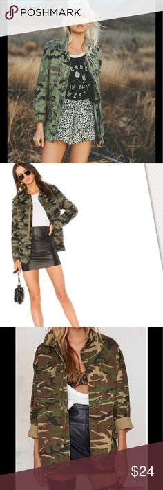 """🎀✂️MILITARY and everyday sexy utility jacket✂️🎀 I simply love a military jacket so chic fashionable over a jeans boots for everyday use.  Wore one time.  Has so much details has four large pockets  buttons and zipper in front  pull belt to make the waiste smaller it fits S-M.  From shoulder to bottom 26"""" armpit across 19"""".  ❣️ I am open to all offers BUNDLE & send me your offer😍 Ecote Jackets & Coats Utility Jackets"""
