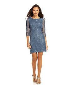 Calvin-Klein-Cornflower-Blue-Metallic-Lace-3-4-Sleeve-Cocktail-Dress-NEW