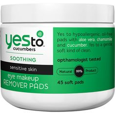 Yes To Cucumbers Eye Makeup Removing Pads – 45 Count « Blast Groceries