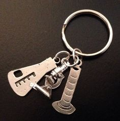 Gorgeous Geekery Science Key Chain - Beaker, Erlenmeyer, Microscope, Graduated Cylinder, Laboratory, Chemistry