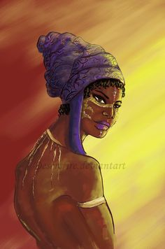 Title: Dunia Mwanamke Swahili for Earth Woman. Listened to a lot of Native American and Lion King music for this.  African+ Turban+ Africa+ Tribal+Art+Concept Art+Artwork