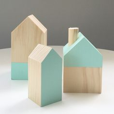 Timber house set :: Wooden houses by Timberandcoau :: Best rated home decor item available only on Etsy (affiliate link)
