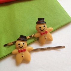Christmas bobby pins Gingerbread man barrette by ThomiGirlPink, $5.00