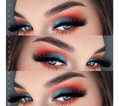 Turquoise and orange eyeshadow