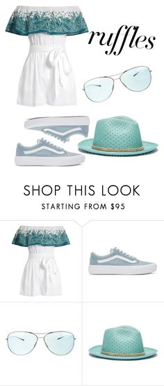 """""""RUFFLES"""" by mineemoe-1 ❤ liked on Polyvore featuring Mara Hoffman, Vans, Oliver Peoples, My Bob, ruffles and RuffLyfe"""