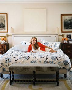 Bedroom - Lulu de Kwiatkowski in the bedroom of her Los Angeles home  bench at bottom of bed!