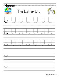 UsingLetter U Handwriting Practice Worksheet, students trace and then write the letter U in order build their Zaner-Bloser style print handwriting skills. Print Handwriting, Handwriting Practice Worksheets, Teaching Handwriting, Teaching The Alphabet, Teacher Worksheets, Teaching Writing, Kindergarten Worksheets, Have Fun Teaching, Teaching First Grade