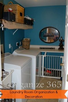 Are you looking for laundry room organization ideas? Here are ideas for laundry rooms with wire shelving. | Organize 365