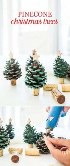 Spread some holiday cheer and decorate your home with these DIY Pinecone Christm., Frisuren,, Spread some holiday cheer and decorate your home with these DIY Pinecone Christmas Trees. Create your own mini pinecone trees with spray paint and win. Noel Christmas, Christmas Ornaments, Diy Ornaments, Pinecone Christmas Crafts, Christmas Tree Pinecones, Outdoor Christmas, Christmas 2019, Simple Christmas Crafts, Christmas Movies