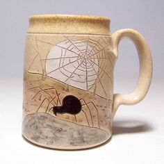 Spider and Web  Large Pottery Coffee Mug Limited Series 183 (16 oz microwave safe) via Etsy