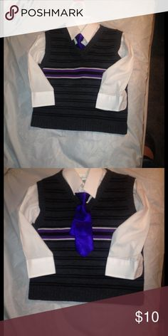 Knit Striped Vest and Collared Shirt Charcoal grey with purple accent knit vest and white collared shirt with clip on purple tie. Shirt by Van Heusen, Vest by Happy Fella. Size 4T. Shirts & Tops Button Down Shirts