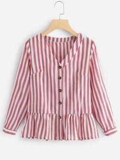Casual Ruffle Hem and Button Plain Shirt Regular Fit V Neck Long Sleeve Placket Red Regular Length Single Breasted Ruffle Hem Striped Blouse Casual Hijab Outfit, Casual Dresses, Fashion Dresses, Kurta Designs, Blouse Designs, Skirt Outfits, Cool Outfits, Velvet Dress Designs, Outfits With Striped Shirts