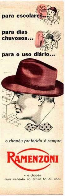 Propaganda dos Chapéus Ramenzoni nos anos 50: para crianças e adultos.