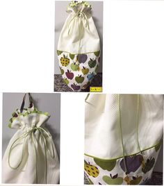 Frutas: Puxa-Saco, tamanho: 50x56cm, todo feito de composê de tecidos de algodão creme e estampado de frutas. Detalhes de caixinha verde e rabo de gato verde com cristal de folha.   Mais em: arteestiloartesanato.wix.com/site