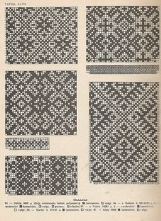 """petitepointplace: """"Icelandic knitting patterns for mittens. They'd be great for cross stitch as well. Knitting Charts, Knitting Stitches, Knitting Designs, Knitting Patterns, Craft Patterns, Filet Crochet, Crochet Chart, Fair Isle Chart, Mittens Pattern"""