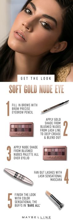 Looking for natural makeup inspiration? Give your nudes look a golden edge with Maybelline's Blushed Nudes eyeshadow palette. Weekend getaways are more fun when you can shimmer in the summer sun with soft golden eyeshadow and nude, glossy lips. Finish the look with this beauty guide. Tame your brows with Brow Precise Eyebrow Pencil and complete your eye look with Lash Sensational Mascara. For more beauty look inspiration click to se our beauty archive.