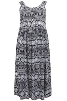 506f18bec9a Black   White Aztec Print Maxi Dress With Elasticated Back Plus Size 14