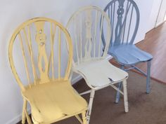 Three vintage chairs given a new lease of life! Annie Sloan Chalk Paints ( Louis Blue, Old White, Arles)